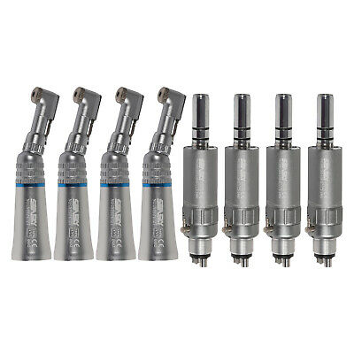 8pcs Dental Slow Low Speed Contra Angle Handpiece W E-type Air Motor 4 Hole