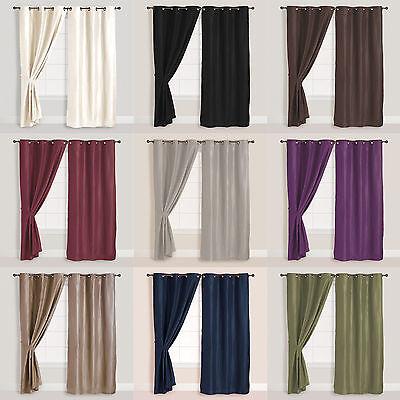 Solid Faux Suede - 2x Panels/Pair Faux Suede Metal Grommet Curtain Drape Set Washable 54 x 84