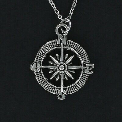 Compass On Chain (Compass Necklace - Pewter Charm on Cable Chain Open Direction Points Travel)