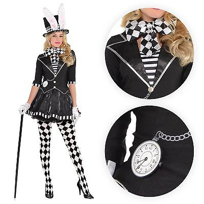 Ladies Goth Dark Mad Hatter Fairytale Story Book Fancy Dress Costume Tights Hat](Lady Mad Hatter Costume)