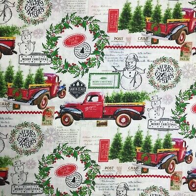Red Truck With Post Marks and Christmas Tree 100% Cotton Fabric