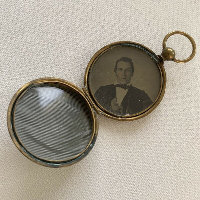 Antique Victorian Man Photograph Mourning Locket Pocket Watch Style Pendant