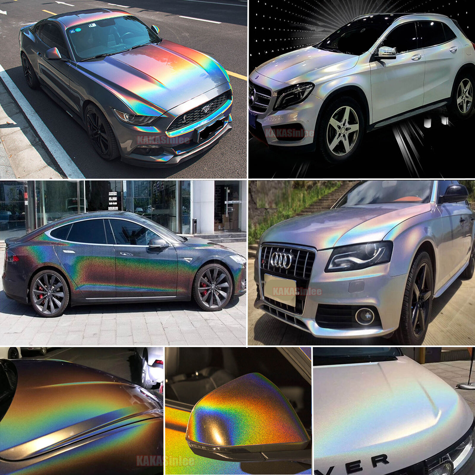 New glossy car rainbow laser holographic chameleon chrome vinyl wrap sticker ab