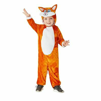 Toddler Ginger Tom Cat Costume Hooded Jumpsuit Book Day Fancy Dress Girls Boys