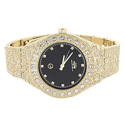 (Unisex Wrist Watch Gold Finish Black Dial Simulated Diamonds Fully Iced Out New )