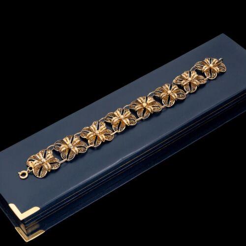 Antique Vintage Deco Sterling Silver Gold Wash Portuguese TOPAZIO Bracelet 16.7g