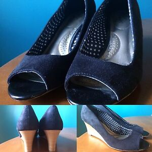 NEW- Black Peep-Toe Wedges