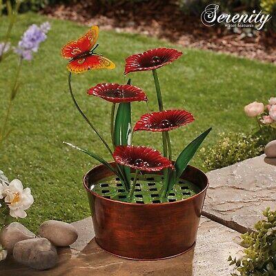 Serenity Metal Indoor & Outdoor Water Feature 41cm Poppy Flower Garden Ornament