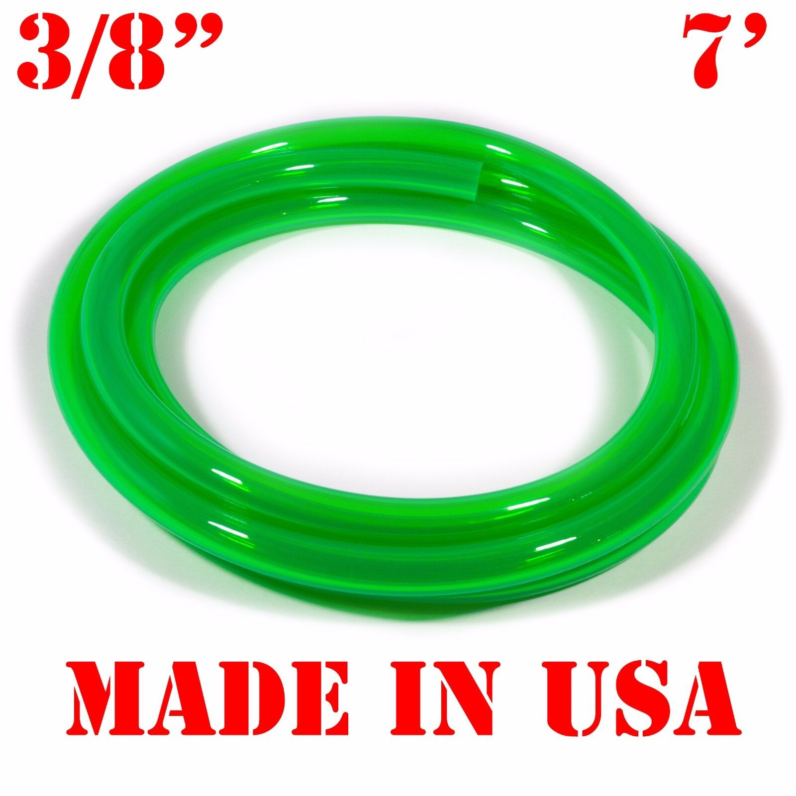 "7 Feet of GREEN 3/8"" (9.5mm) id Fast Flow Fuel Line for Jetski/Kart/Cycle"
