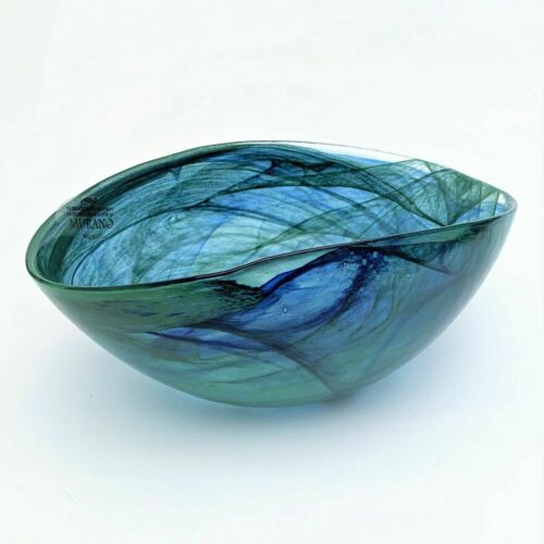 Murano Glass Decorative Bowl in Blue & Green Swirl, Factory New