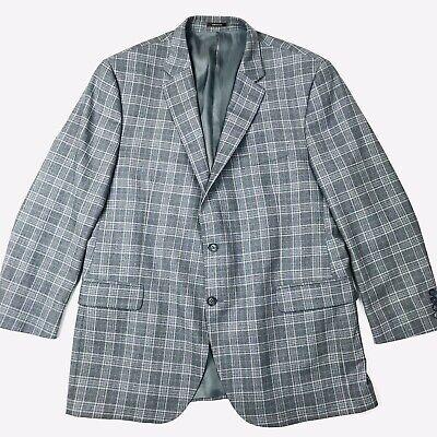 Peter Millar Men's Grey Blue Plaid Checked 2 Button Wool Blazer Suit Jacket 48T Blue Plaid Blazer