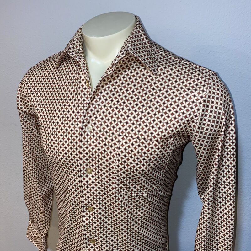 Vtg 60s 70s JCPenney Dress Shirt Mens MEDIUM Disco STRETCH POLYESTER Groovy MOD