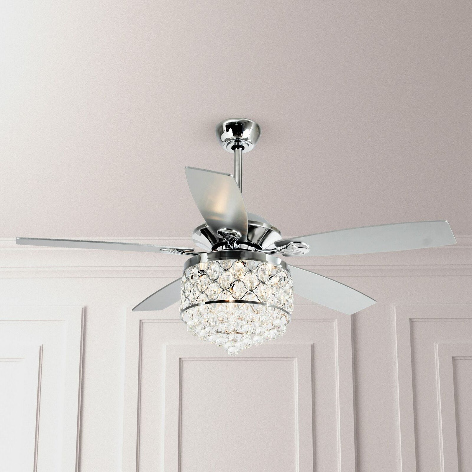52 Crystal Ceiling Fan Light Remote Control 4 Lights Reversible Fan Chandelier Ebay