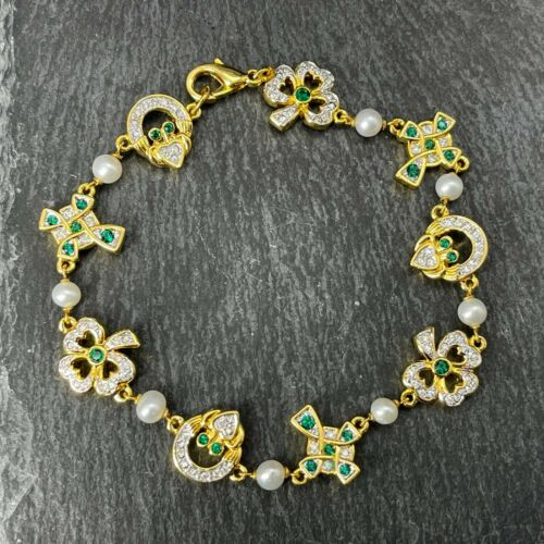 Sterling Silver Gold Tone Bracelet Irish Clover Crosses Hearts Green Clear Glass