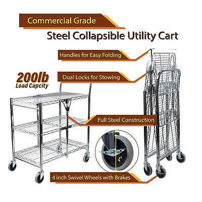 InStyleDesign-3 Tier Heavy Duty Wire Foldable Utility Cart Silver