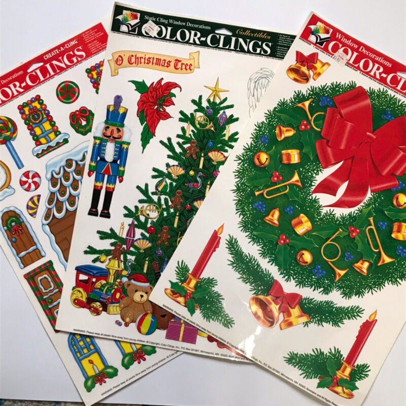 3 Sheets Vintage 90s Christmas Window Stickers Static Cling Reusable Tree Wreath