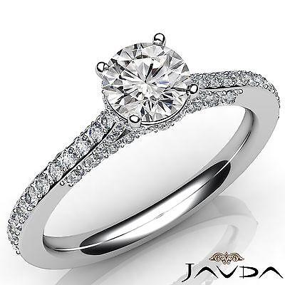Bridge Accent Halo Round Diamond Engagement Pave Setting Ring GIA E VS1 1.37 Ct