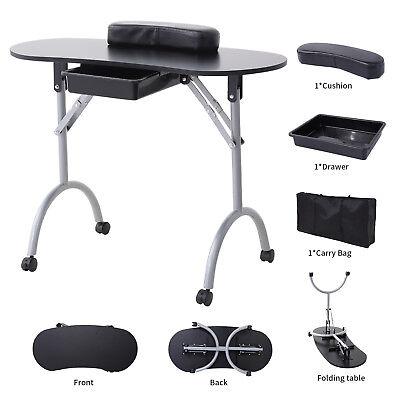 Black Foldable Manicure Nail Table Portable Station Desk Spa Beauty Salon for sale  USA