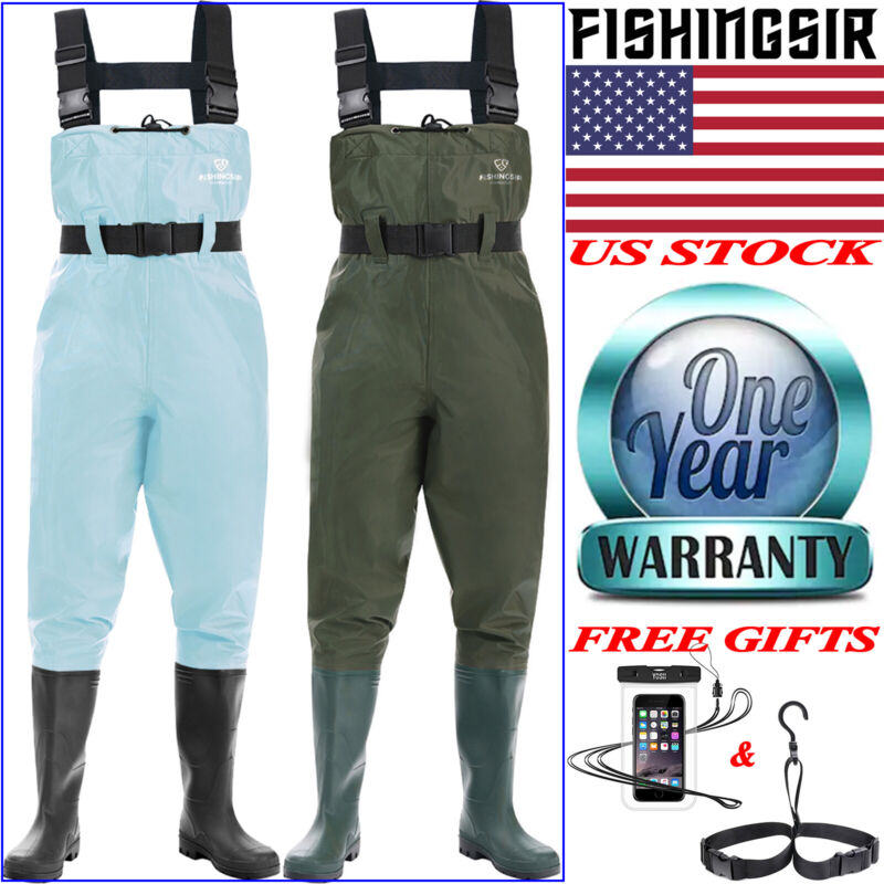FISHINGSIR Nylon PVC 2-Ply Chest Waders Cleated Bootfoot Fishing, Hunting Waders