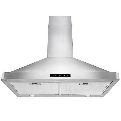 """30"""" Stainless Steel Wall Mount Touch Panel Controls LED Light Lamp Range Hood"""
