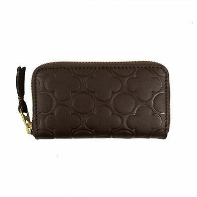 NIB COMME DES GARÇONS Brown Leather Clover Embossed Mini Wallet Coin Purse $120