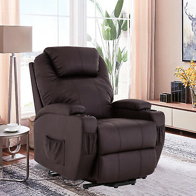Power Lift Chair Recliner Armchair Real Leather Wall Elderly Chair Seat Brown