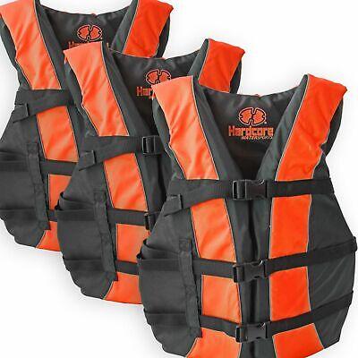 3 Pack Hardcore Adult Life Jacket PFD Type III Coast Guard S