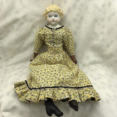 "Antique German Kling Blue Eyes Blonde Hair China Head 16"" Doll"