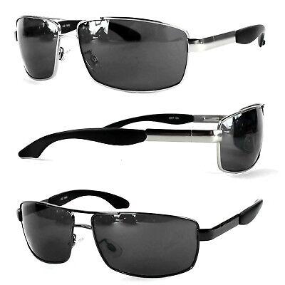 Herren Designer Sonnenbrille Chrom Metall Schwarz Verspiegelt Rechteckig Etui R3