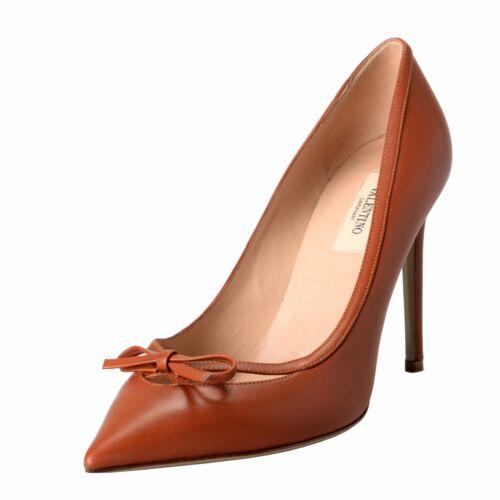 Valentino Garavani Womens Leather Bow Cognac Pumps High Heels Shoes