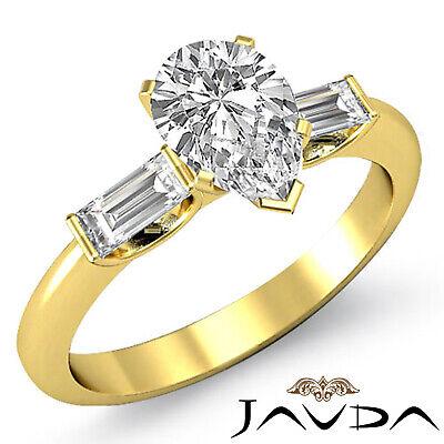 Brilliant Pear Cut Diamond 3 Stone Engagement Ring GIA I SI1 Platinum 950 1.3 ct 3