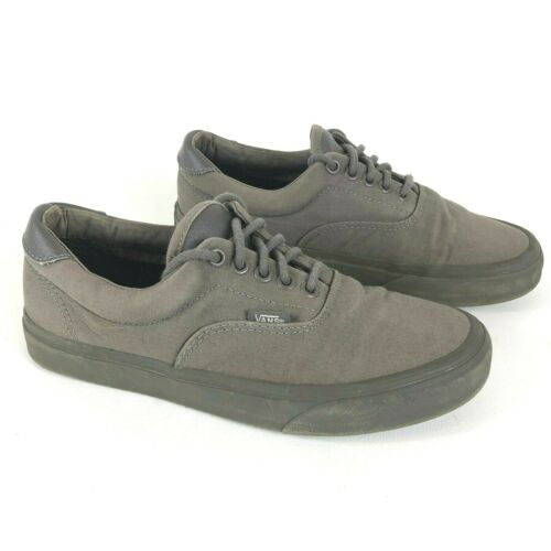 VANS Low Top Mens 6.5M Womens 8M Skate Sneakers Canvas Shoes Grey Olive Sole