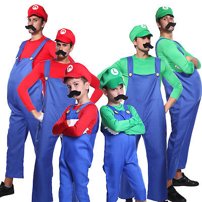 Mens Boys Super Mario Luigi Brother Plumber Cosplay Outfit Halloween Fancy Dress - Mario Costume Boys