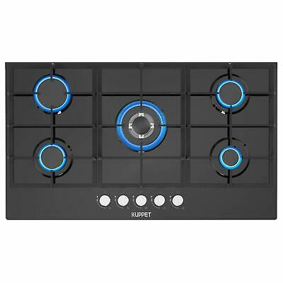"""Built-in Gas Cooktop Gas Stove with 5 Booster Burners Smooth Surface 36"""" Black"""