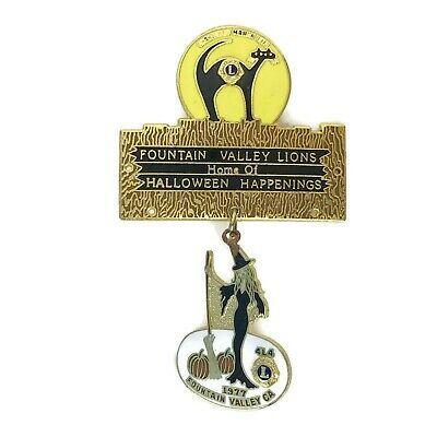 Vintage 1977 Fountain Valley Lions Club Halloween Pinback Pin Metal Enamel 3