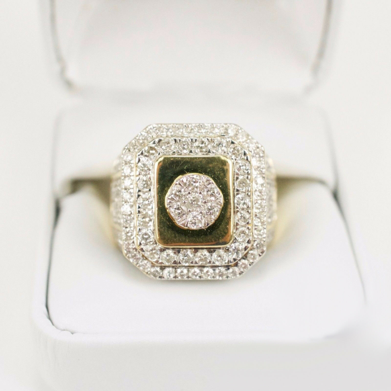 1.99Ct ROUND CUT DIAMOND 14K YELLOW GOLD OVER MENS PINKY WEDDING BAND RING