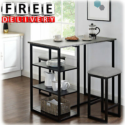 Used, Metal Pub Set Breakfast Table Dining Stools Kitchen Storage Bar 3 Piece Portable for sale  New York
