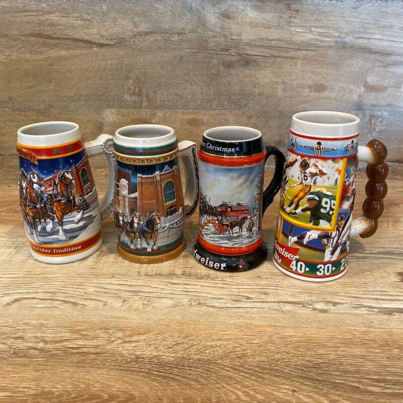 Budweiser LOT 4 Steins Holiday Clydesdales Anheuser-Busch Ceremonte Touchdown