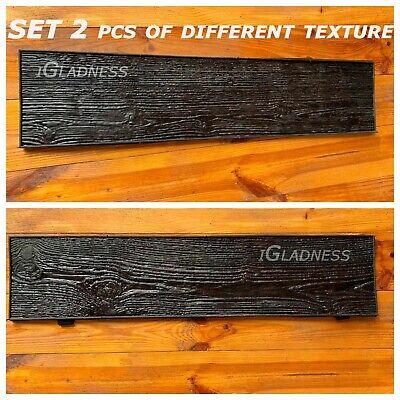 Set2pcs Concrete Texture Rubber Stamp Decorative Mat Printing Cement Pine Boards