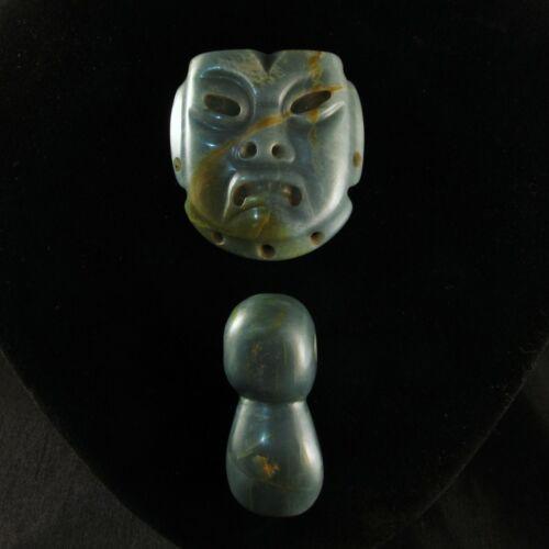 Pre-Columbian Olmec Translucent Blue Jade Jaguar Cult Mask & Duck Pendant Set
