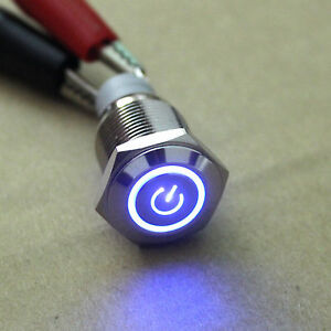 New Car Boat Blue Power/Angel Eye 12V LED Button Metal Switch 16mm Push ON/OFF