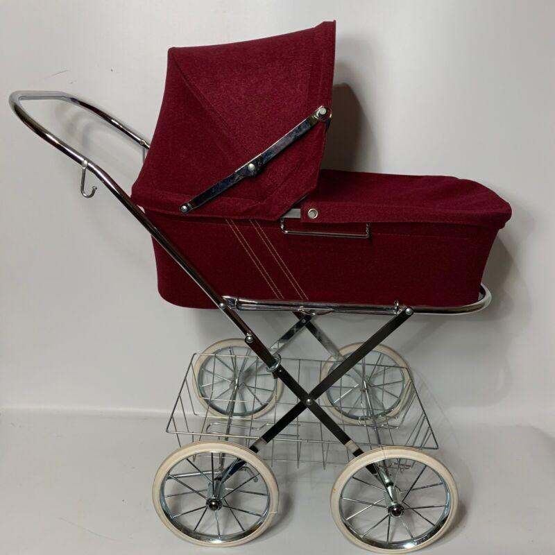 Vintage AB Lars Sjoholm Varnamo Sweden Foldable Baby Doll Red Pram Stroller