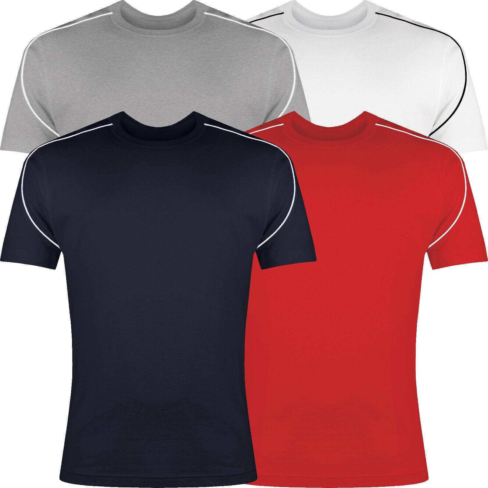 Mens RockBerry Plain 100/% Cotton Casual Short Sleeve Rib Crew Neck T Shirt Top