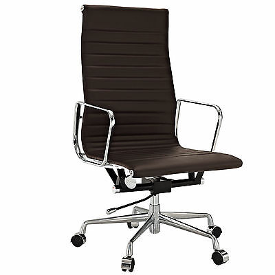 Eames Office Chair Ribbed High Back Aluminum Reproduction Leather Dark Brown