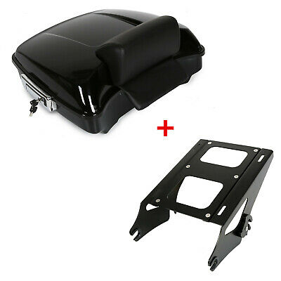 Chopped Tour Pak Pack Trunk +Pad w/ Two-Up Rack For Harley Road King Glide (2014 Harley Davidson Street Glide Tour Pack)
