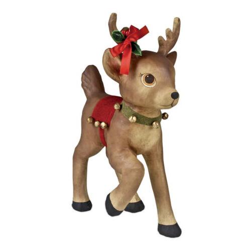 Bethany Lowe Girl Reindeer Jingle Bells Christmas Retro Vntg Home Decor Figurine