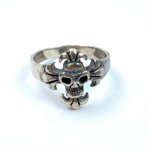 Vintage 925 sterling silver Skull Ring woman Size 9.5 Unique Design biker gothic