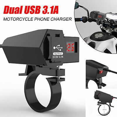 Waterproof Motorcycle Handlebar Dual USB Ports 12V Phone GPS Charger + Voltmeter