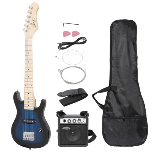 30″ Blue Full Size Beginner Electric Guitar Set with Case Strap Capo Strings Acoustic Guitars