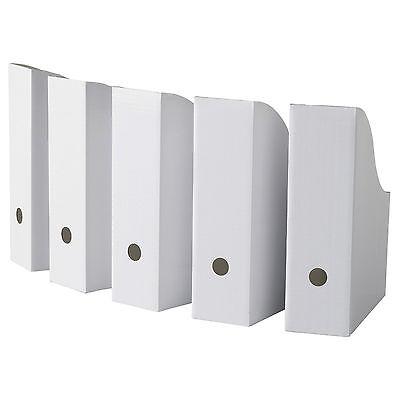 Ikea Flyt Magazine File Box 5-pk Book Stationery Storage Sturdy Cardboard